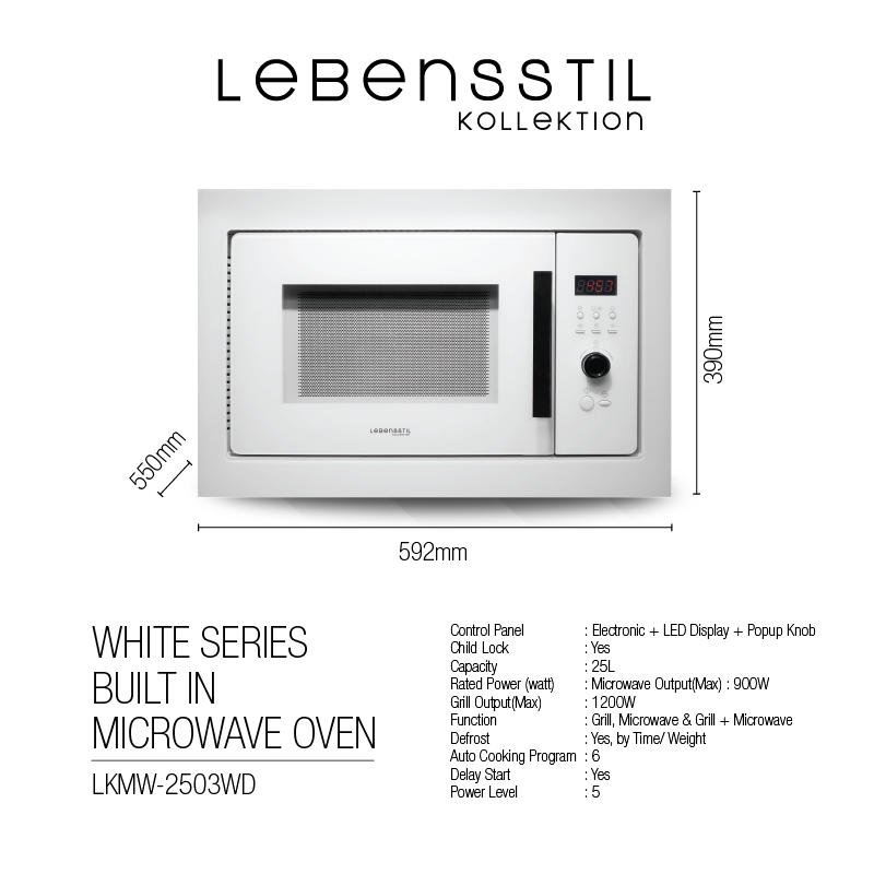 White Series Built in Microwave Oven P3